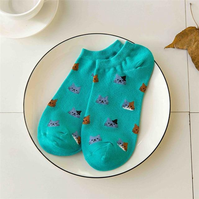 Women Socks 3D Animals Cat Autumn Winter Thin Invisible Shallow Mouthdresskily-dresskily