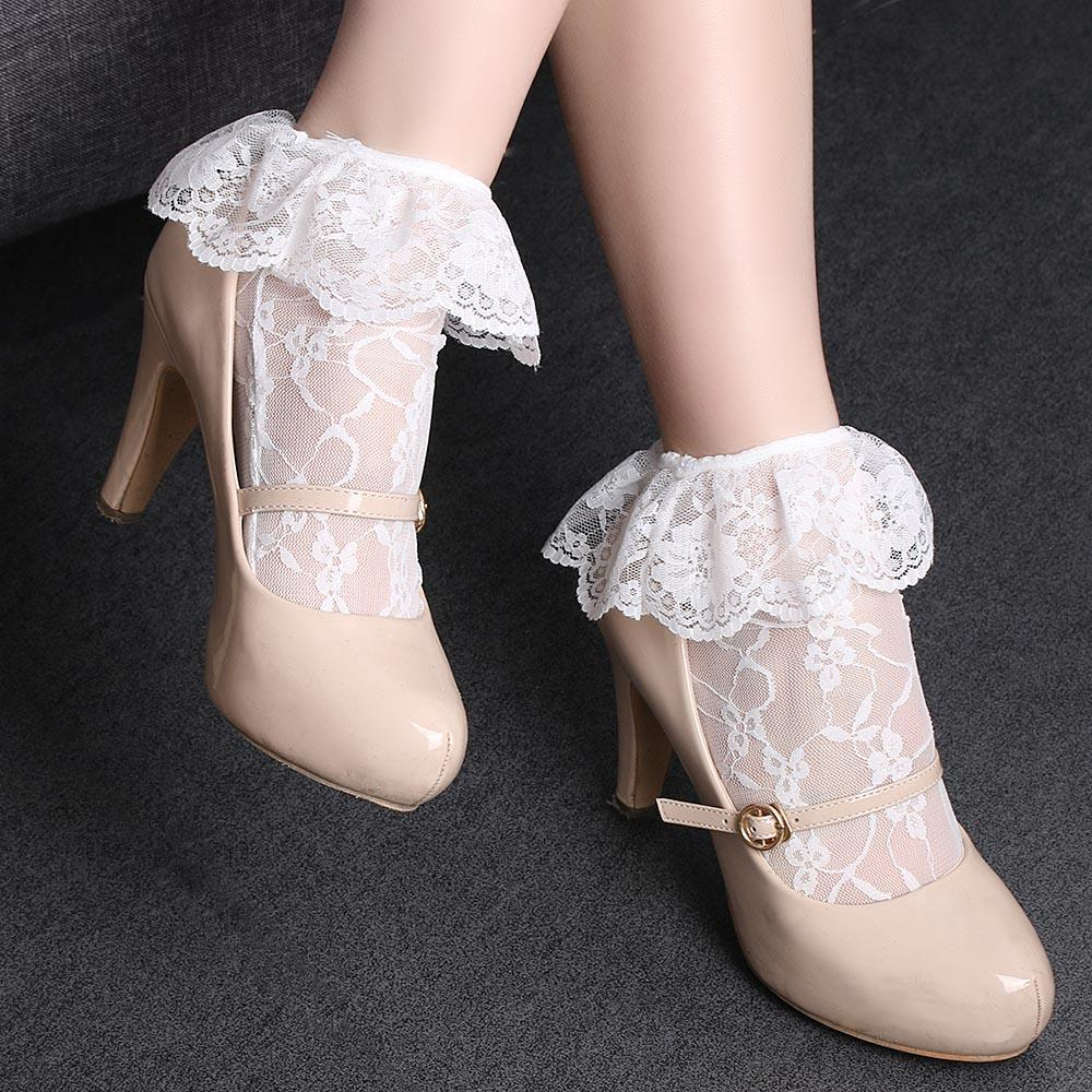 1Pair Fashion Women Transparent Princess Lace Short Loose Elastic Ultrathin Hollow Socksdresskily-dresskily