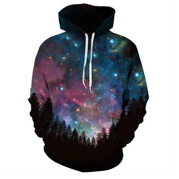 Men/women Harajuku 3D Printed Sweatshirt Hoodie Forest Blue Red Galaxy Spacedresskily-dresskily