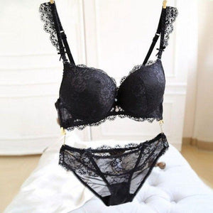 Ladies Sexy Lace Push-Up Deep V Bra Set Lingerie Outfits Women Bradresskily-dresskily