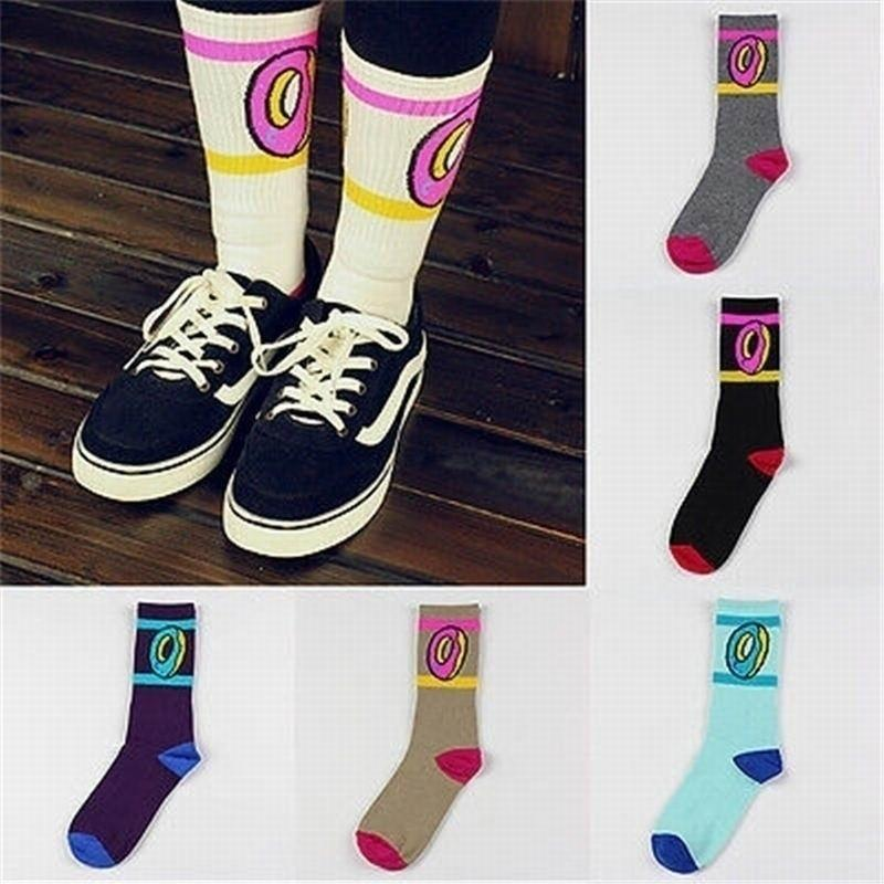 Fashion Cute Donuts Pattern Socks Wool Cotton Middle Hiphop Skateboard Casual Womendresskily-dresskily