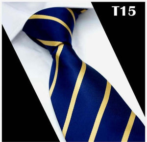 SCST Brand New Gravata Gold Striped Print Blue Silk Neck Ties Fordresskily-dresskily