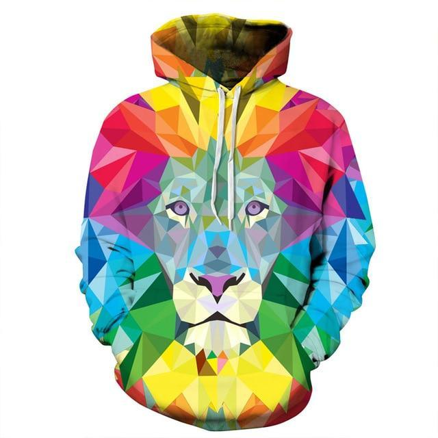 3D Colorful Lion Men Hoodies Women Hooded Sweatshirts Autumn Novelty Pullover Maledresskily-dresskily