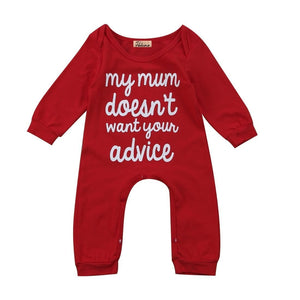 Red Letters Print One Piece Baby Rompers Outfits Long Sleeve Infant Babydresskily-dresskily