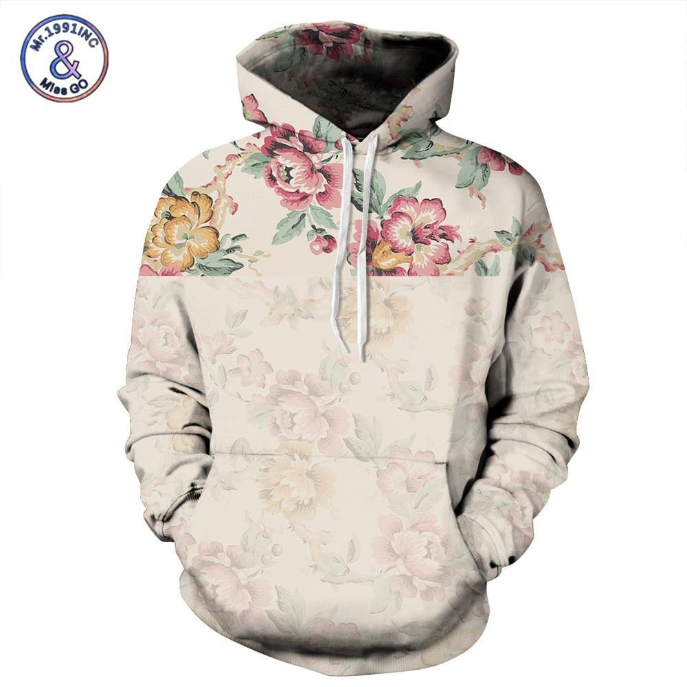 Mr.1991INC Fashion 3D Sweatshirt Men/Women Pullover Hoodies Rose Flower Print Sweatshirts Withdresskily-dresskily