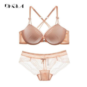New Arrivals Front Closure Bras Lace Embroidery Gathering Underwear Set Women Sexydresskily-dresskily