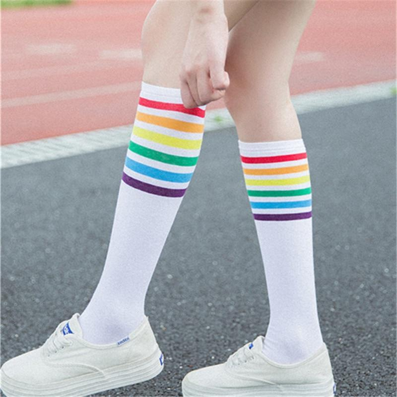 New Arrival Fashion Women Rainbow Striped Pattern Cotton Socks Retro Old Schooldresskily-dresskily