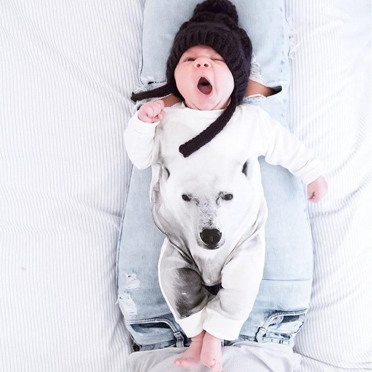 Fashion 2017 polar bear baby rompers newborn baby boy clothes long sleevedresskily-dresskily