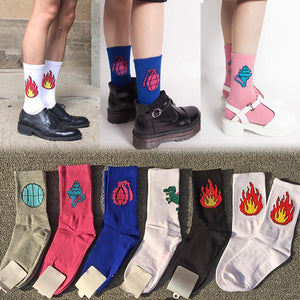 New Women Men Cotton Socks Funny Dinosaur Baseball Fire Patterned Socks Creativedresskily-dresskily