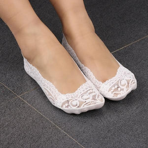 Fashion Accessories 1 PAIR Summer Women Lady Girl Floral Lace Antiskid Invisibledresskily-dresskily