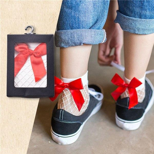 1 Pair Women Large Fishnet Ankle High Socks Hollow Thin Bow Tiedresskily-dresskily