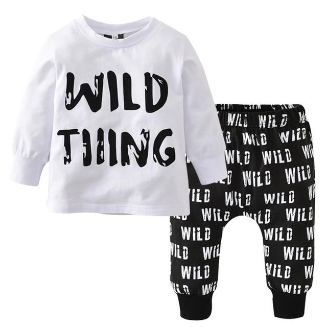 Autumn Newborn Baby Boy Clothes Long Sleeved T-shirt + pants Wilddresskily-dresskily