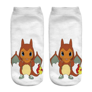New Arrival Cute Cartoon Anime 3D Printed Women Socks Pokemon Pikachu Ankledresskily-dresskily