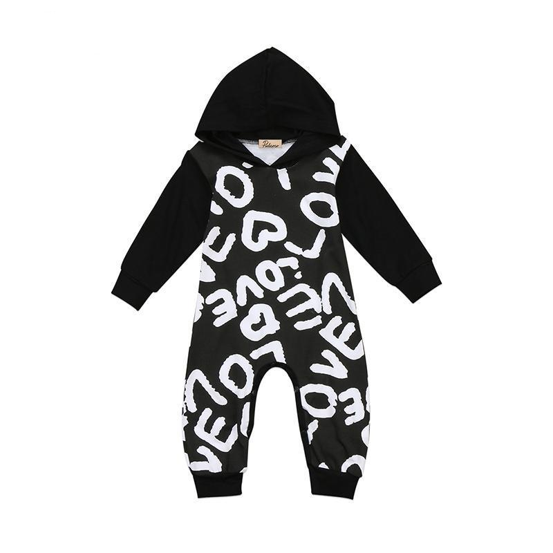 Newborn Infant Baby Boy Girl Autumn Clothes Long Sleeve Printed Hooded Romperdresskily-dresskily