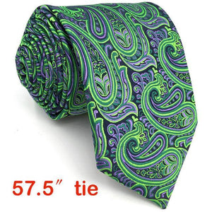 Extra long size Paisley Green Purple Black Mens Necktie Set 100% Silkdresskily-dresskily