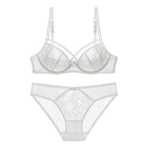 European Lace women Push Up Bra Sets transparent Bra And Panty Frenchdresskily-dresskily