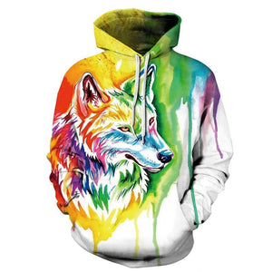 Mr.1991INC New Fashion Wolf Hoodies Men/women 3d Sweatshirts Print Paint Wolf Thindresskily-dresskily
