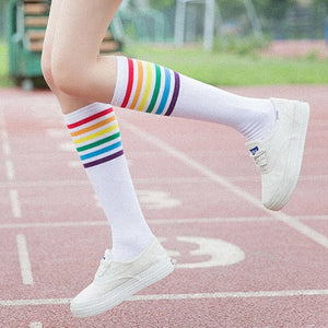 Kawaii Japan Leg Socks Cotton Colorful Striped Rainbow Socks Women Autumn Winterdresskily-dresskily