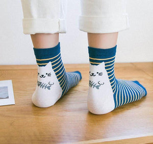 []Lovely Cat Play Fish Printed Socks Women Cute Funny Socks For Girlsdresskily-dresskily