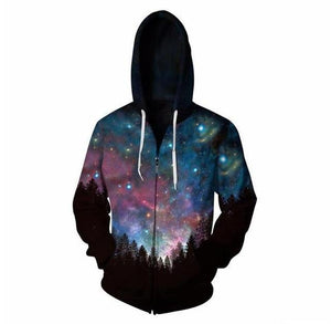 Starry sky Hooded Sweatshirt Zipper Outerwear Anime Vegeta 3D Hoodies Womendresskily-dresskily