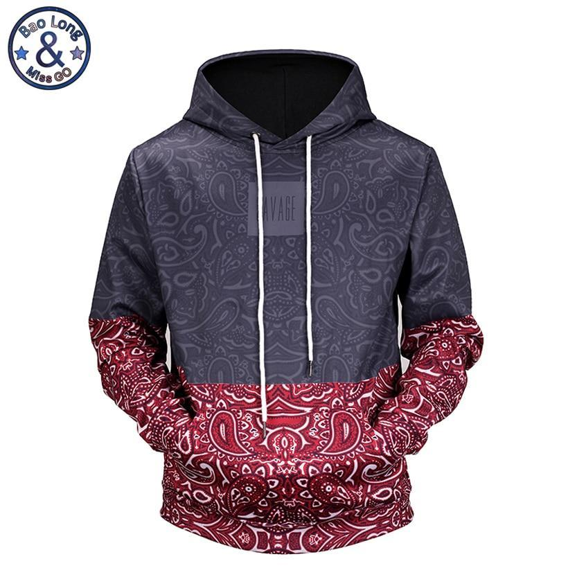 Mr.BaoLong new 2018 high quality Floral Stitching 3D printed men's hooded hoodiesdresskily-dresskily