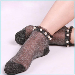 Sexy Women Ankle Socks Summer Autumn Transparent Glitter Mesh Soft Elasticity Gauzedresskily-dresskily