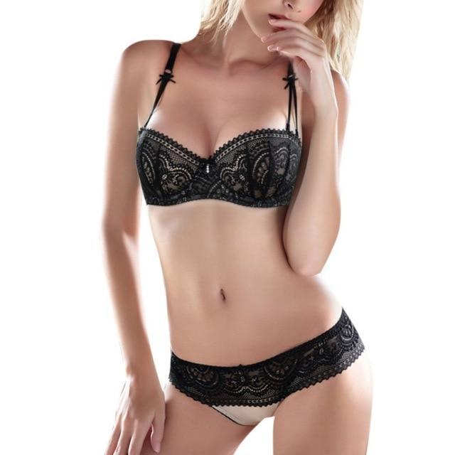 Silk Lace Flower Bra Brief Set Soft Bra And Hollow Out Pantiesdresskily-dresskily