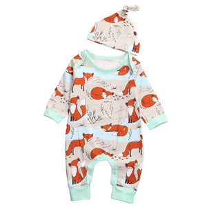Baby Fox Print Romper Hat Newborn Baby Girl Boy Long Sleeve Romperdresskily-dresskily