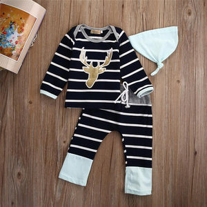 3PCS Baby Boys Girls Tops T-shirt Pants Leggings Hat Striped Outfits Setdresskily-dresskily