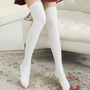 Fashion Autumn Winter Women Wool Braid Over Knee Socks Thigh Highs Twistdresskily-dresskily