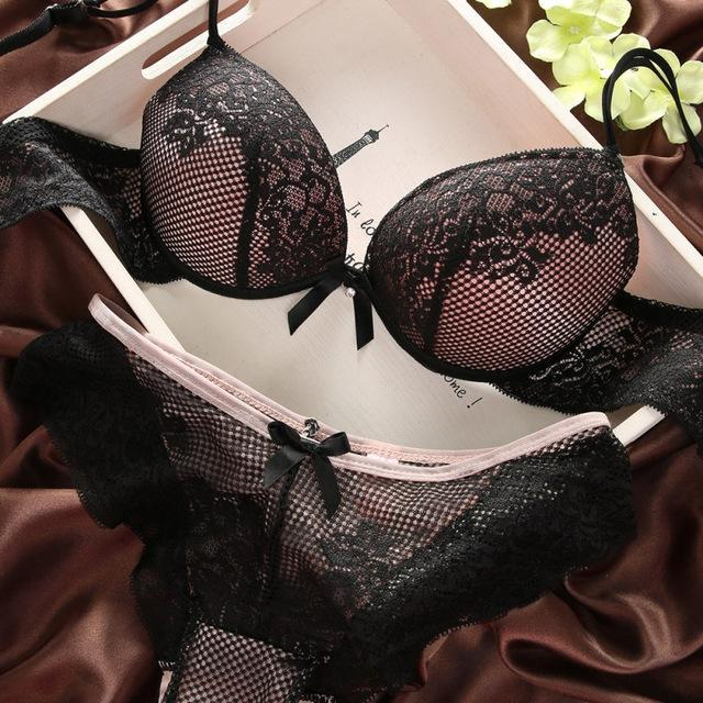 Fashion lace sexy thin deep V-neck Bra push up underwear Embroidery Lacedresskily-dresskily