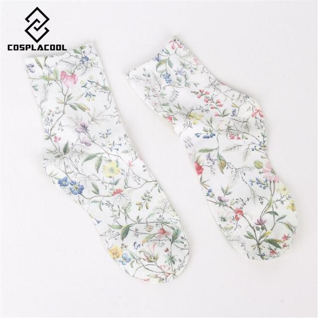 New! Spring fall/winter socks women's high quality retro fashion flower printing cottondresskily-dresskily