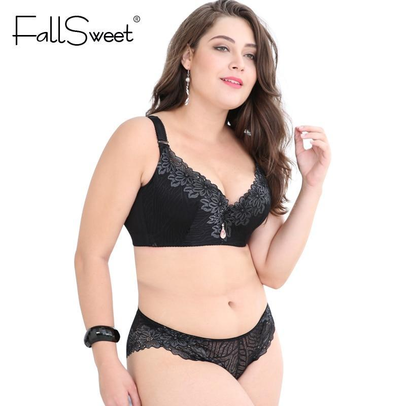 FallSweet Plus Size Bra Set Women Push Up Lace Brassiere and briefsdresskily-dresskily