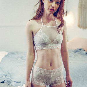 Women Halter Transparent Sexy Bra Set Thin Lace Victoria Woman Underweardresskily-dresskily