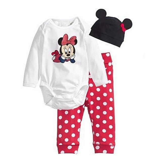 3Pcs Baby Rompers Autumn Baby Girl Clothing Set Mickey Baby Boy Clothesdresskily-dresskily