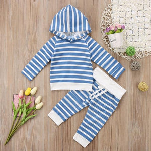 Newborn Baby Boy Girls Cotton Striped Hooded Top+Pants Striped Outfits Clothesdresskily-dresskily