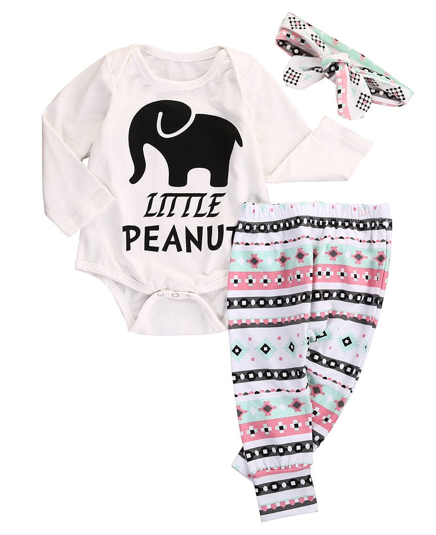 2017 3Pcs Little Peanut Elephant Newborn Infant Baby Boy Girl Romper+Pants Leggingdresskily-dresskily
