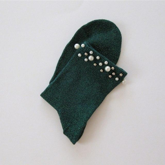 SP&CITY Autumn New Rhinestone Pearl Shiny Socks Women Fashion Short Harajuku Socksdresskily-dresskily