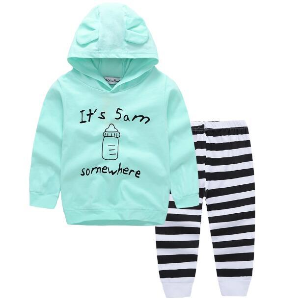Green Newborn Baby boys Clothes set letter print Bebes Hooded Top +stripedresskily-dresskily
