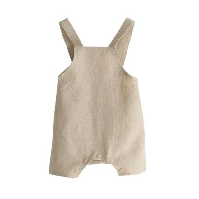 2017 Summer Cotton Linen Baby Girl Romper Solid Color Suspender Overalls Infantdresskily-dresskily
