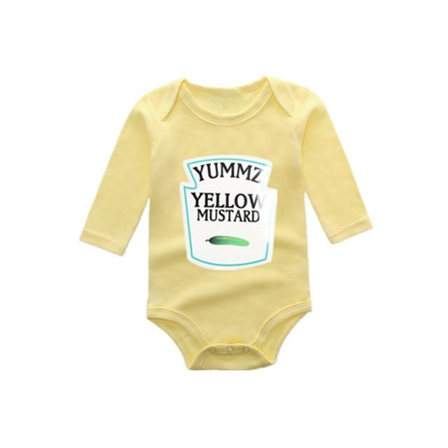 Winter style Long sleeve Yummz Tomato Ketchup Red&Yellow Baby Bodysuit Babydresskily-dresskily