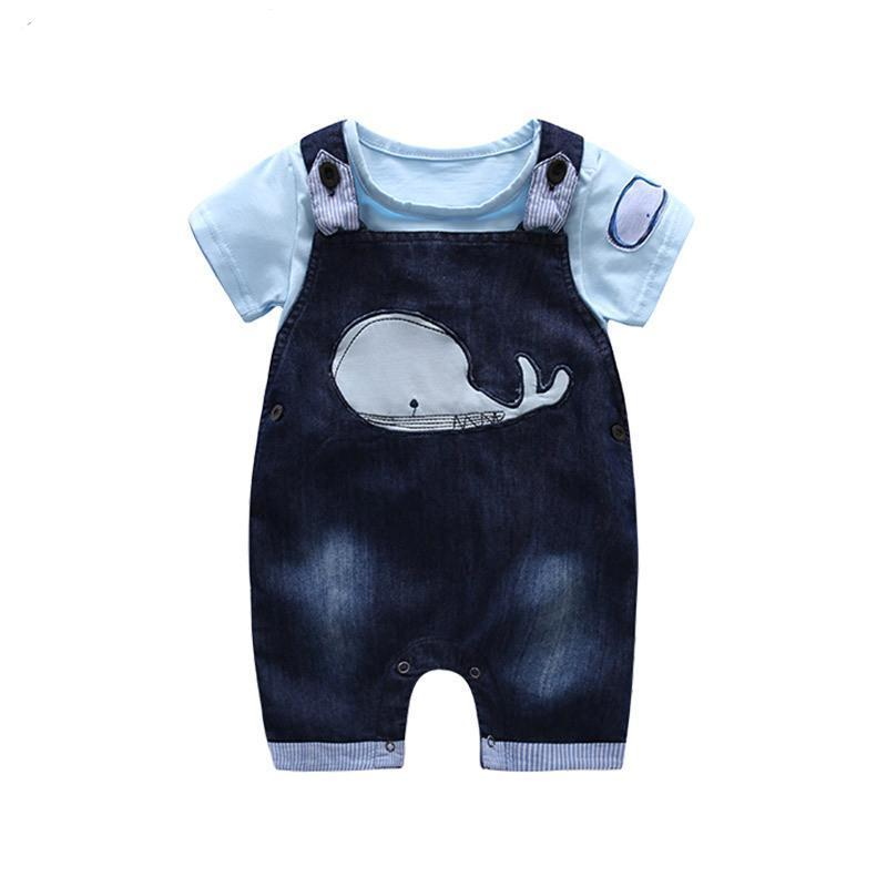 Kimocat Baby boy's summer suit boy's cotton short-sleeved denim shorts two suitsdresskily-dresskily