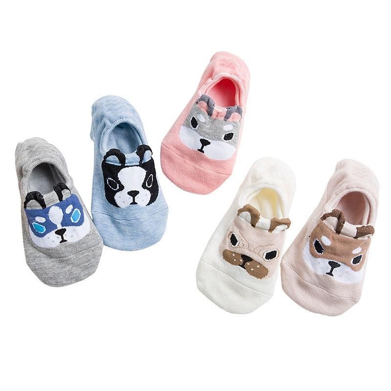 3 Pairs Women Sock Slippers Lovely Cartoon Animals Dog Pattern Funny Socksdresskily-dresskily