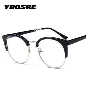 YOOSKE Women Retro Goggles Frames Glasses Transparent Optical Myopic Spectacle Semicircle Eyedresskily-dresskily