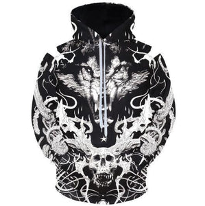 Skulls And Wolf Hoodies 3D Hoodies Long Sleeve Hoody Animals Tracksuitsdresskily-dresskily