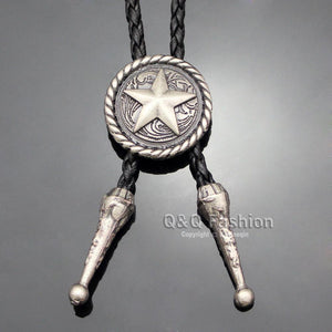 Cowboy Silver Concho Saddle Texas Ranger Star Leather Rodeo Bolo Tie Necktiedresskily-dresskily