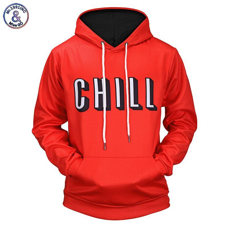 Mr.1991INC New 2018 Red Color Hoodies Men/Women 3d Sweatshirts Print Letters CHILLdresskily-dresskily