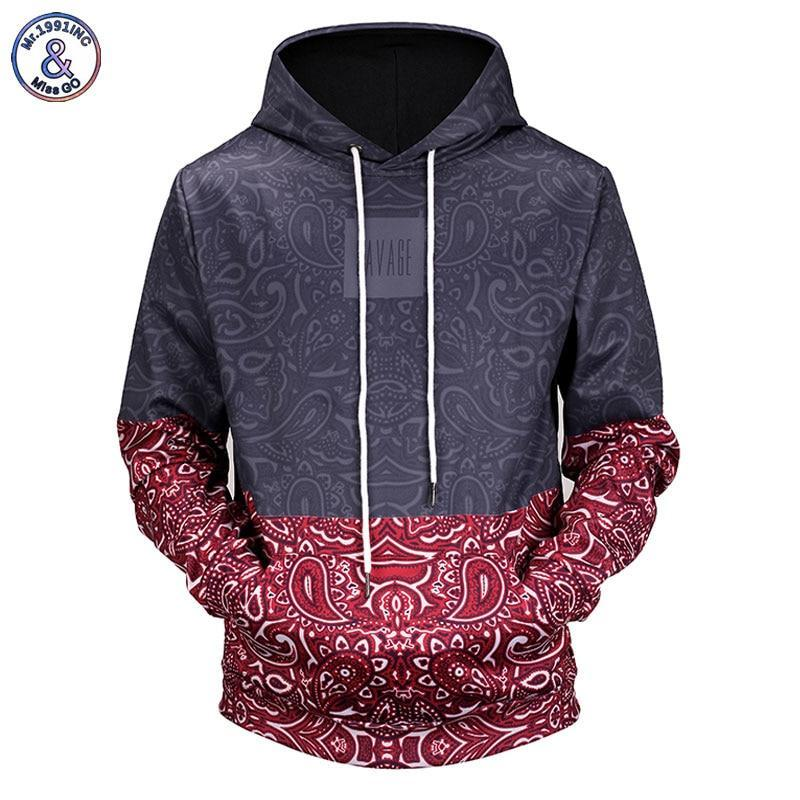 Mr.1991INC New 2018 Paisley Floral Stitching 3D Printed Men/Women Hooded Hoodies Funnydresskily-dresskily
