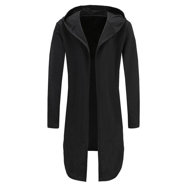 Men Hooded Sweatshirts Black Gown Hip Hop Mantle Hoodies Brand Fashion Longdresskily-dresskily
