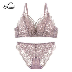 Women Fashion Lace Ruffle Hollow Out Bra Sets Adjustable Straps Bralettedresskily-dresskily